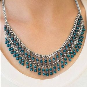 Teal and gray beaded necklace